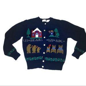 Vintage Wool sweater Goldilocks and the three Bear